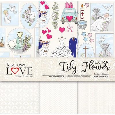 """LIQUIDATION-Laserowe - Collection de papier 12"""" X 12"""" recto-verso 6 feuilles «Lily Flower extra»  (Le prix ci-dessous est déjà réduit de 50%)"""