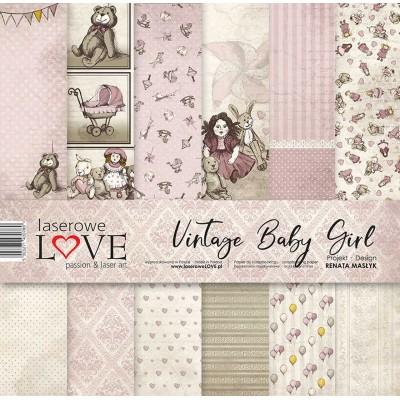 "Laserowe - Collection de papier 12"" X 12"" recto-verso 6 feuilles «Vintage Baby girl»"