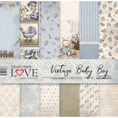 """Laserowe - Collection de papier 12"""" X 12"""" recto-verso 6 feuilles «Vintage Baby Boy»"""