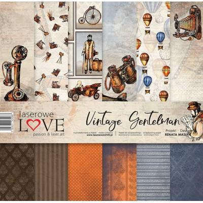 "Laserowe - Collection de papier 12"" X 12"" recto-verso 6 feuilles «Vintage Gentleman»"