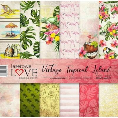 "Laserowe - Collection de papier 12"" X 12"" recto-verso 6 feuilles «Vintage Tropical Island»"
