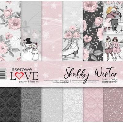 "Laserowe - Collection de papier 12"" X 12"" recto-verso 6 feuilles «Shabby Winter»"