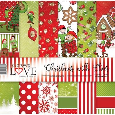 "Laserowe - Collection de papier 12"" X 12"" recto-verso 6 feuilles «Christmas with elves»"