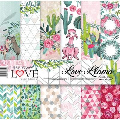 """Laserowe - Collection de papier 12"""" X 12"""" recto-verso 6 feuilles «Love Llama»"""