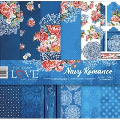 "Laserowe - Collection de papier 12"" X 12"" recto-verso 6 feuilles «Navy romance»"