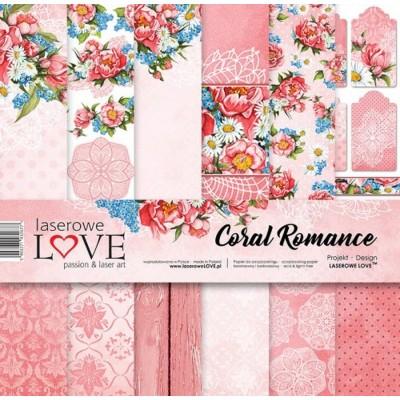 """Laserowe - Collection de papier 12"""" X 12"""" recto-verso 6 feuilles «Coral Romance»"""
