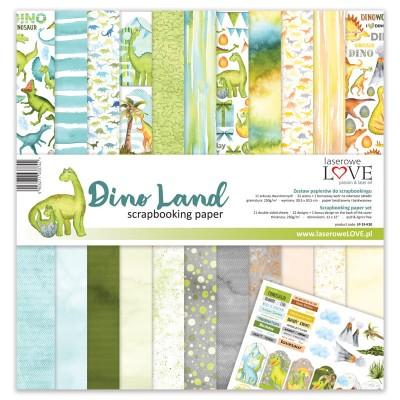 "Laserowe - Collection de papier 12"" X 12"" recto-verso 11 feuilles «Dino land»"