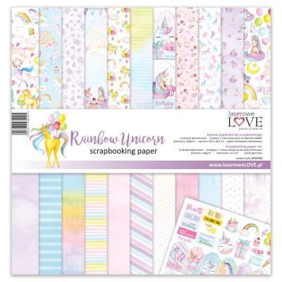 "Laserowe - Collection de papier 12"" X 12"" recto-verso 11 feuilles «Rainbow Unicorn»"