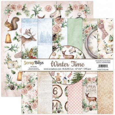 """ScrapBoys - Ensemble de papier «Winter Time» 12""""X12"""" de 12 feuilles recto-verso"""