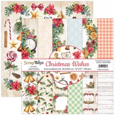 """ScrapBoys - Ensemble de papier «Christmas Wishes» 12""""X12"""" de 12 feuilles recto-verso"""