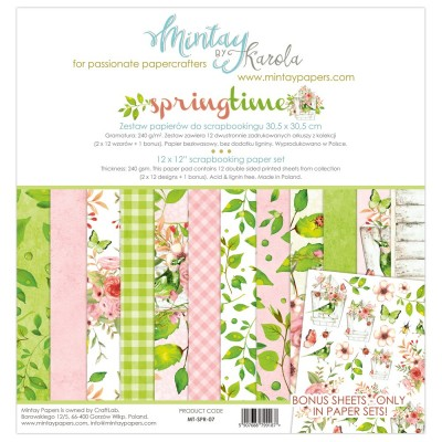 "Mintay - Papier 12"" X 12""  collection «Spring Time» 12 pages recto-verso"