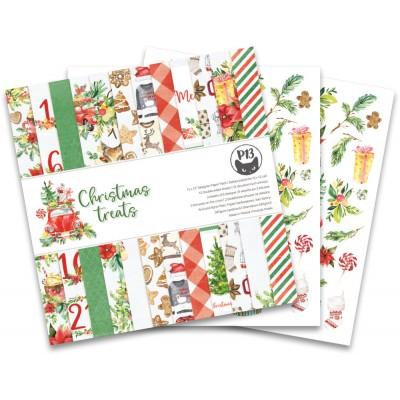 """LIQUIDATION- P13 - Bloc de papier «Christmas Treats» 12"""" X 12"""" 12 pages   (le prix indiqué ci-dessous est déjà à 50% de rabais)"""