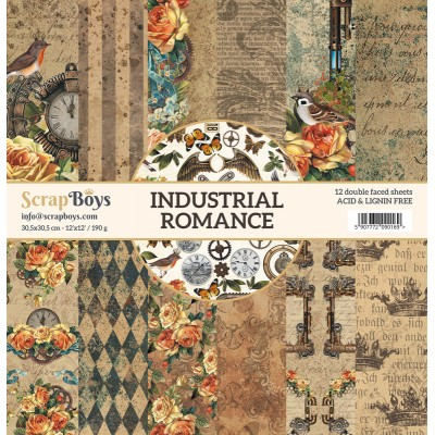 """ScrapBoys - Ensemble de papier «Industrial Romance» 12""""X12"""" de 12 feuilles recto-verso"""
