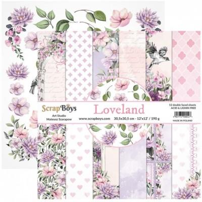 """ScrapBoys - Ensemble de papier «Loveland» 12""""X12"""" de 12 feuilles recto-verso"""