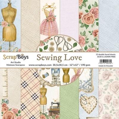 """ScrapBoys - Ensemble de papier «Sewing Love» 12""""X12"""" de 12 feuilles recto-verso"""