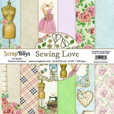 """ScrapBoys - Ensemble de papier «Sewing Love» 6""""X6"""" de 24 feuilles recto-verso"""