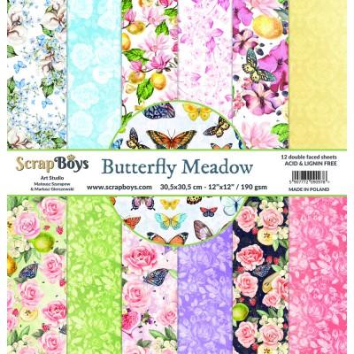 """ScrapBoys - Ensemble de papier «Butterfly Meadow» 12""""X12"""" de 12 feuilles recto-verso"""