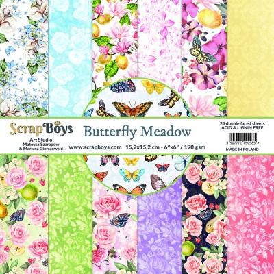 """ScrapBoys - Ensemble de papier «Butterfly Meadow» 6""""X6"""" de 24 feuilles recto-verso"""