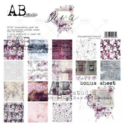 "AB Studio - Ensemble de papier «Diva» 12 ""X12"" recto-verso 12 feuilles / Pqt"