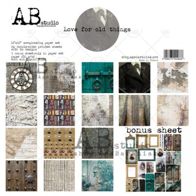"AB Studio - Ensemble de papier «Love for old thigs» 12 ""X12"" recto-verso 12 feuilles / Pqt"
