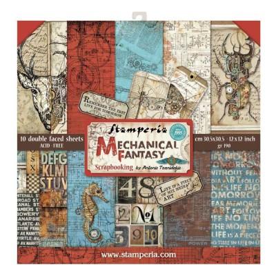 "Stamperia  -  Papier 12"" X 12"" «Mechanical Fantasy», 10 feuilles double- face"
