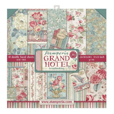 "Stamperia  -  Papier 12"" X 12"" «Grand Hotel», 10 feuilles double- face"