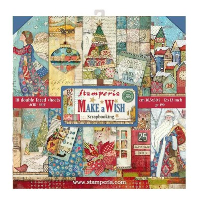 "Stamperia  -  Papier 12"" X 12"" «Make a wish» 10 feuilles double- face"