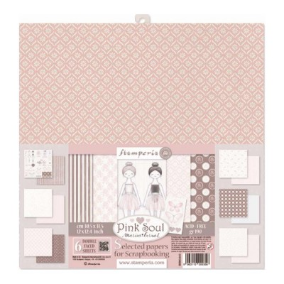 "Stamperia - Papier 12"" X 12"" «Pink Soul», 6 feuilles double- face"
