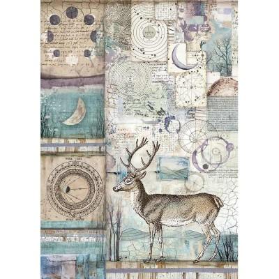 Stamperia - Papier de riz «Cosmos Deer»