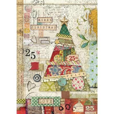 Stamperia - Papier de riz «Patchwork Tree»