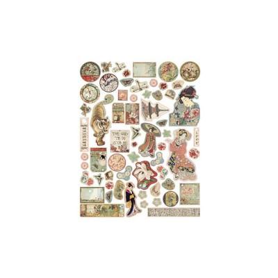Stamperia - Éphéméra / Chipboard «Oriental Garden» ensemble 62 pcs