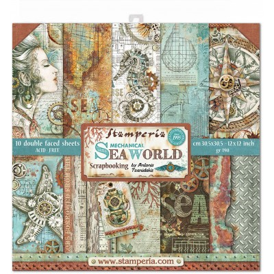 "Stamperia - Papier 12"" X 12"" «Sea World», 10 feuilles double- face"