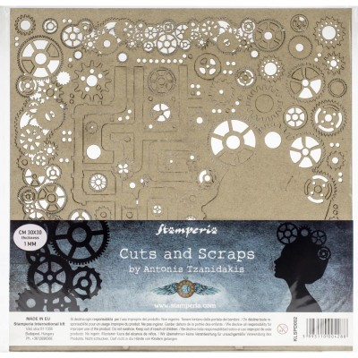 """Stamperia - Chipboard «Lady & Gears» 12"""" x 12"""""""