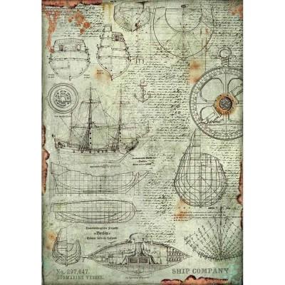 Stamperia - Papier de riz «Boat Project»