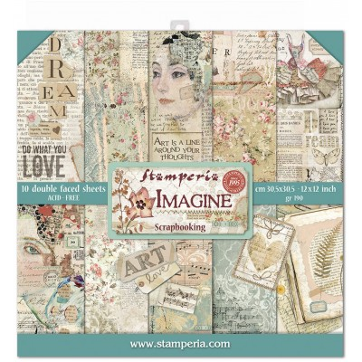 "Stamperia  -  Papier 12"" X 12"" «Imagine», 10 feuilles double- face"