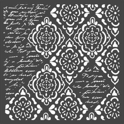 "Stamperia - Stencil «Wallpaper Rhombus & Writings» 6"" x 6"""