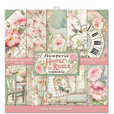 "Stamperia - Papier 12"" X 12"" «House of Roses», 10 feuilles double- face"