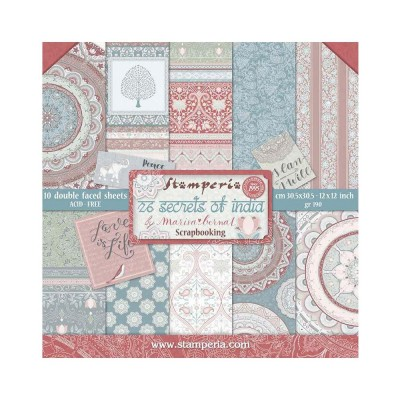 "Stamperia  -  Papier 12"" X 12"" «26 Secrets Of India», 10 feuilles double- face"