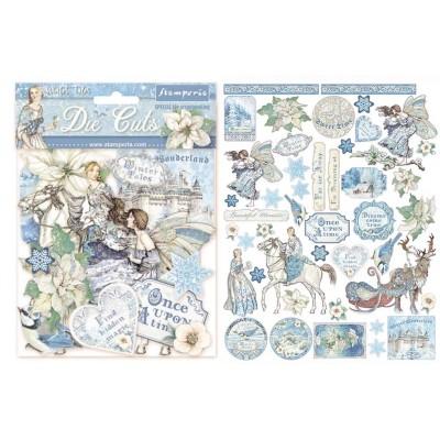 PRÉCOMMANDE- Stamperia - Éphéméra / Chipboard «Winter Tales» ensemble 66 pcs