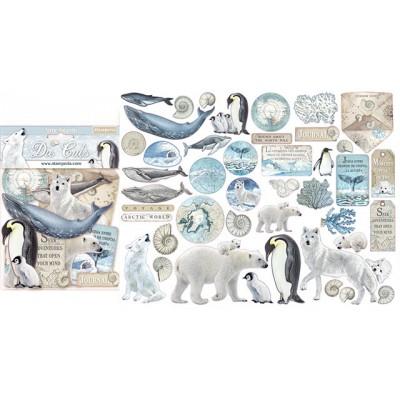 PRÉCOMMANDE- Stamperia - Éphéméra / Chipboard «Arctic Antarctic» ensemble 66 pcs