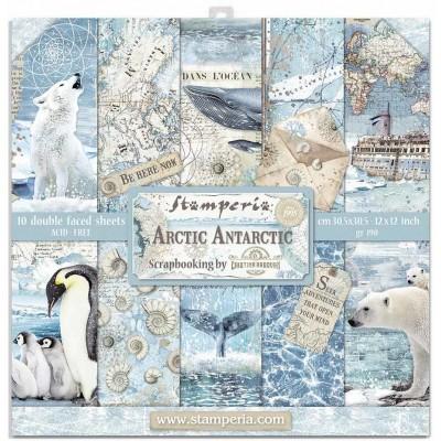 """PRÉCOMMANDE - Stamperia  -  Papier 12"""" X 12"""" «Arctic Antarctic», 10 feuilles double- face"""