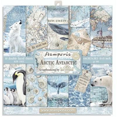 "Stamperia  - Ensemble de papier «Arctic Antarctic» 8"" x 8""  10 feuilles"
