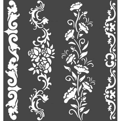 """LIQUIDATION- Stamperia - Stencil «Princess Borders» 7"""" X 7""""   (le prix indiqué ci-dessous est déjà à 50% de rabais)"""