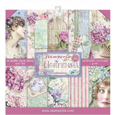 """PRÉCOMMANDE - Stamperia  -  Papier 12"""" X 12"""" «Hortensia», 10 feuilles double- face"""
