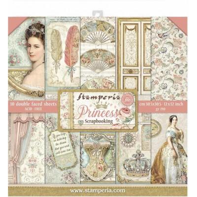 """Stamperia  - Papier 12"""" X 12"""" «Princess», 10 feuilles double- face"""