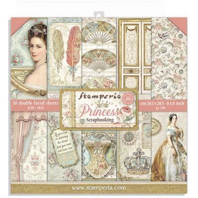 """Stamperia  - Ensemble de papier «Princess» 8"""" x 8""""  10 feuilles"""