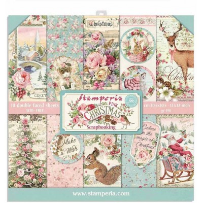 """Stamperia  -  Papier 12"""" X 12"""" «Pink Christmas 2» 10 feuilles double- face"""
