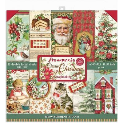 """PRÉCOMMANDE - Stamperia  -  Papier 12"""" X 12"""" «Classic Christmas», 10 feuilles double- face"""