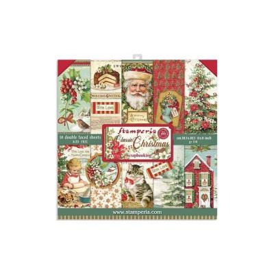 """Stamperia  - Ensemble de papier «Classic Christmas» 8"""" x 8""""  10 feuilles"""