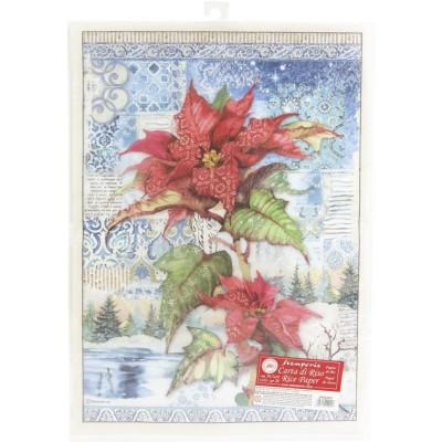 """LIQUIDATION-Stamperia - Papier de riz «Poinsettia Red» 12"""" x 16"""" (LE PRIX INDIQUÉ CI-DESSOUS EST DÉJÀ RÉDUIT À 50%)"""